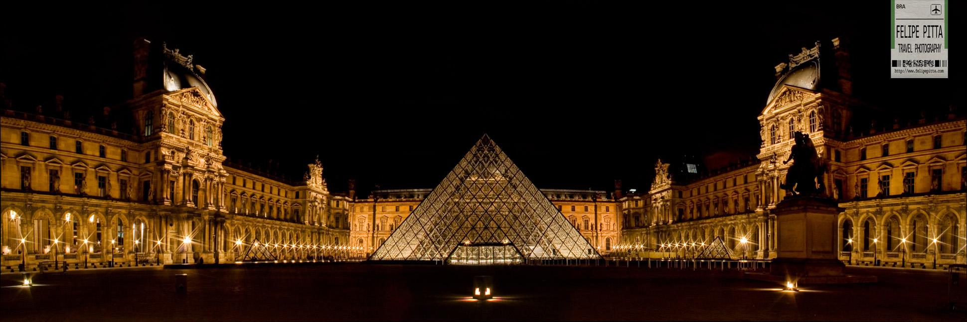 Louvre Museum Glass Pyramid Paris France Pan