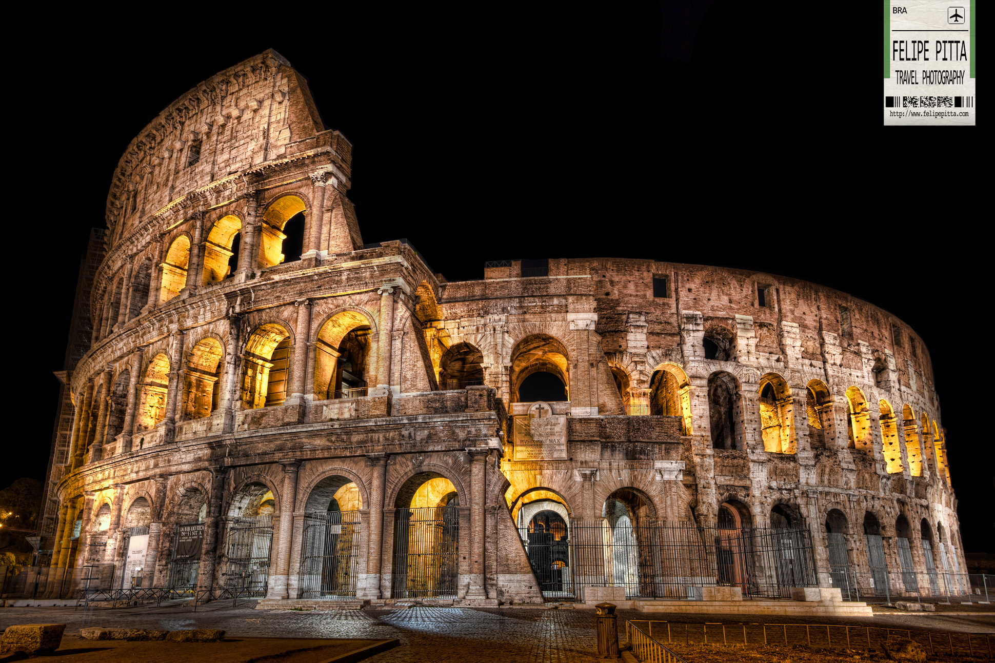 Flavian Amphitheatre Colosseum Rome Italy Night