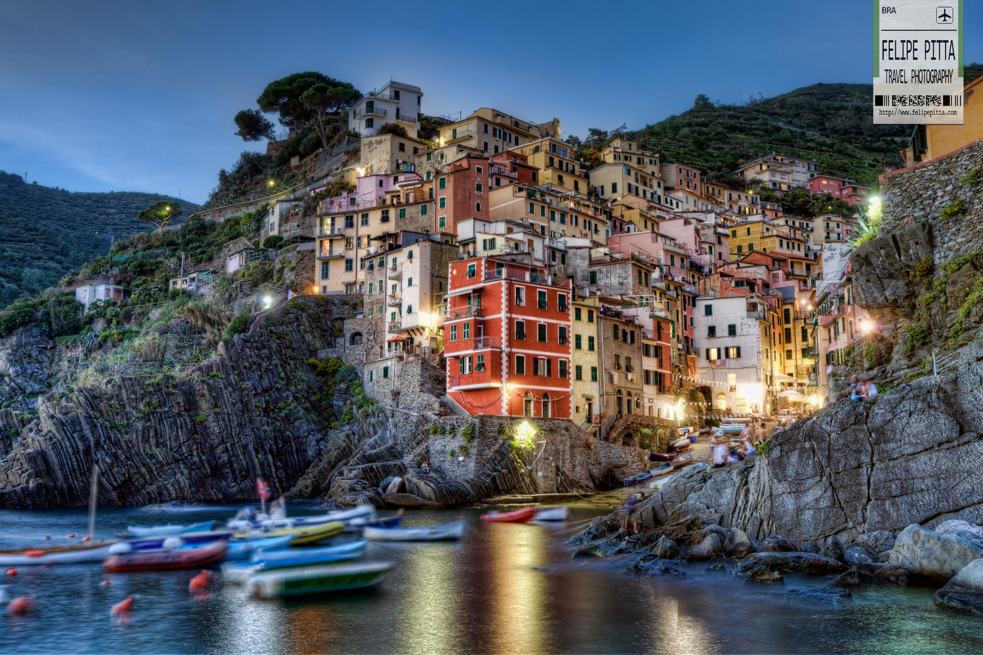 Riomaggiore Cinque Terre Italy Dusk La Spezia Liguria
