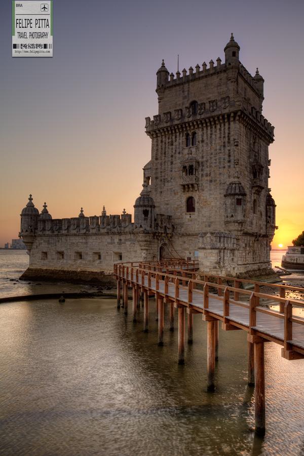 Sunset Belem Tower Lisbon Portugal