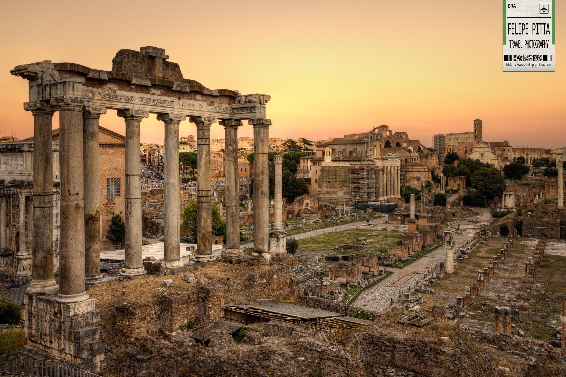 Foro Romano Roman Forum Sunset Rome Italy
