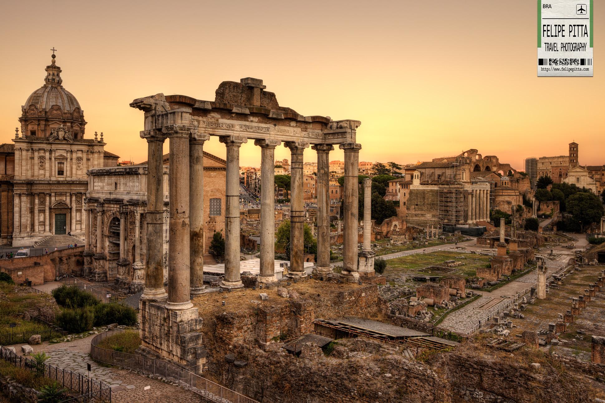 Roman Forum Foro Romano Sunset Rome Italy