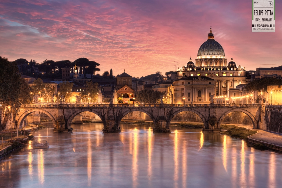 St Peter Basilica Vatican City Rome Italy Sunset