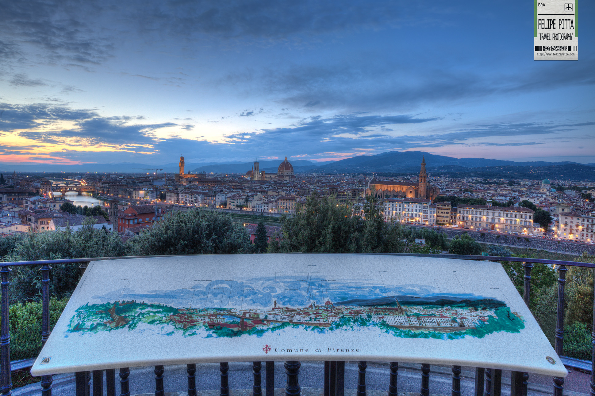 A sunset in Florence from Piazzale Michelangelo Italy Blue Hour