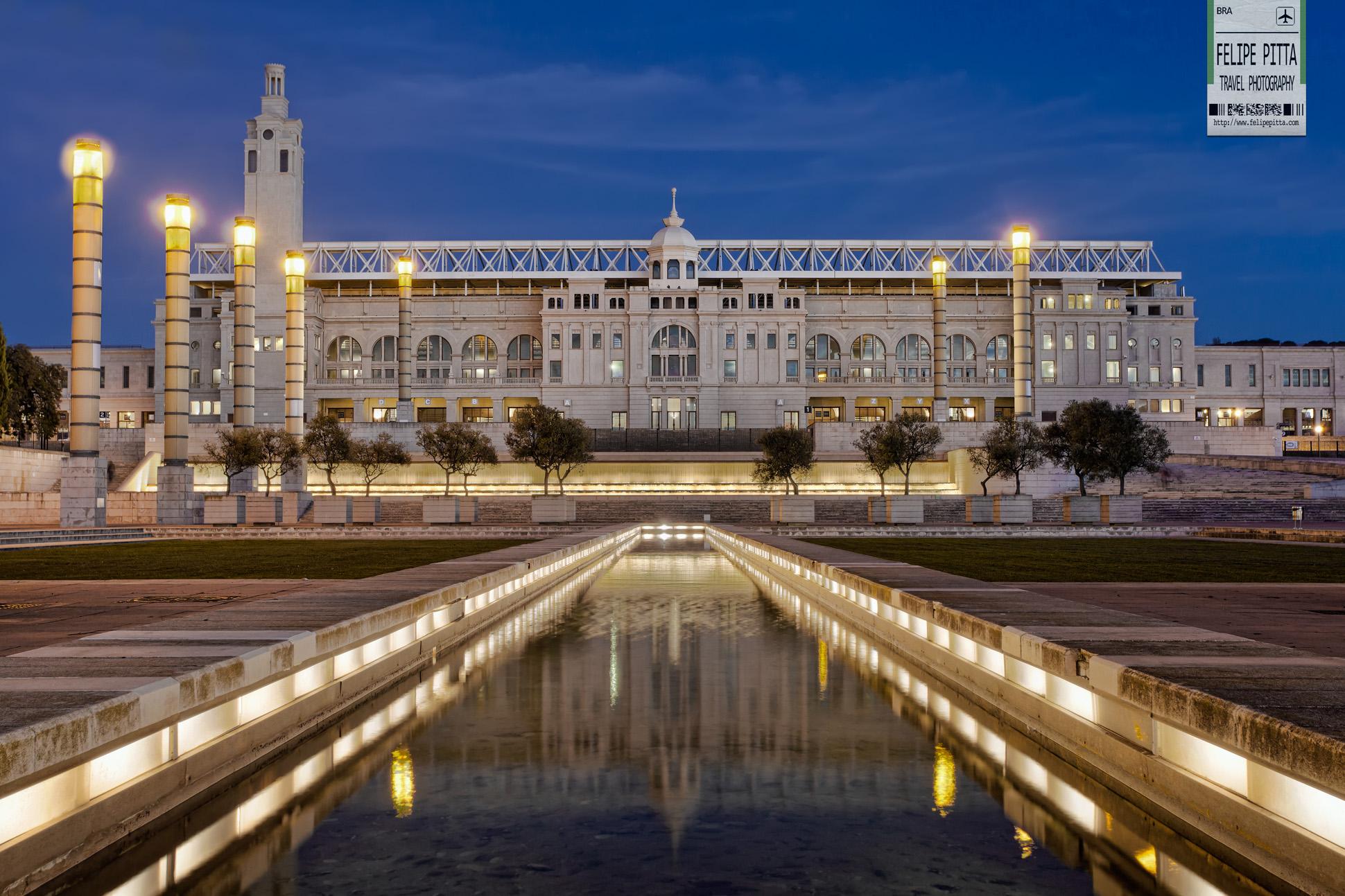 Estadi Olimpic de Montjuic Lluis Companys Facade Barcelona Catalunya Catalonia Spain
